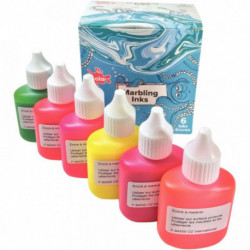 KIT DE MARBLING 6 FLACONS 25ML, COULEURS FLUORESCENTES