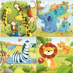 BOITE DE 4 PUZZLES PROGRESSIFS, LES ANIMAUX DE LA SAVANE