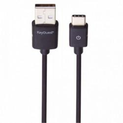 CORDON USB 3.0 MALE/MÂLE USB A VERS USB C OU LONGUEUR 2,5 MÈTRE NOIR
