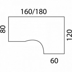 BUREAU COMPACT ASYMÉTRIQUE 90° PIEDS FIXES L180XP120 RETOUR GAUCHE 60 CHÊNE/PIÈT