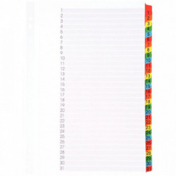 INTERCALAIRES NUMÉRIQUES 1 À 31 TOUCHES FORMAT A4+