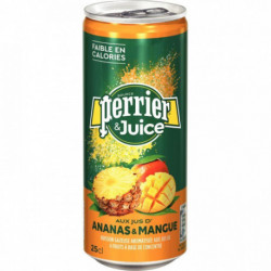 LOT DE 24 CANETTES 25CL PERRIER JUICE ANANAS & MANGUE