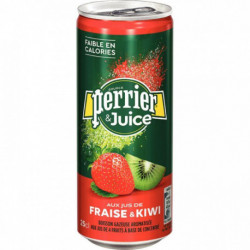 LOT DE 24 CANETTES 25CL PERRIER JUICE FRAISE & KIWI