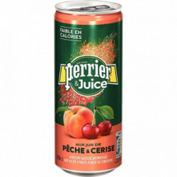 LOT DE 24 CANETTES 25CL PERRIER JUICE PÊCHE & CERISE