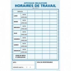 PANNEAU HORAIRE DE TRAVAIL 30X42CM