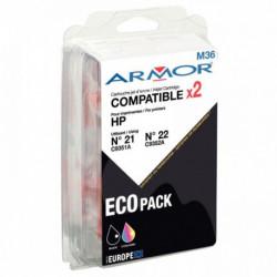 BI-PACK ENCRE COMPATIBLE À LA MARQUE HP C9351A / C9352A NOIR ET COULEURS