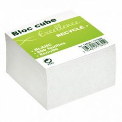 BLOC CUBE RECYCLÉ BLANC D'ENVIRON 800 FEUILLES ENCOLLÉES 9X9X9CM