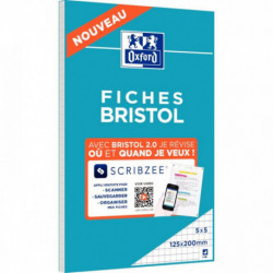 FICHES BRISTOL PERFORÉES 2 TROUS CARTE FORTE 210G BLANC 5X5 12,5X20CM LES 30