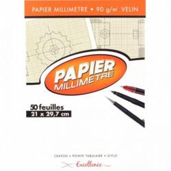 BLOC DE 50 FEUILLES DE PAPIER MILLIMÉTRÉ, 90 G FORMAT 21X29,7 CM EXCELLENCE