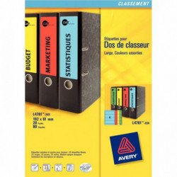 ÉTIQUETTES LASER 192X61MM POUR DOS CLASSEURS À LEVIER LARGES 20 PLANCHES DE 4 CO