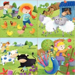 BOITE DE 4 PUZZLES PROGRESSIFS, LES ANIMAUX DE LA FERME