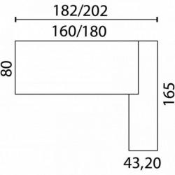 BUREAU AVEC RETOUR PORTEUR CRISTAL DE ROCHE L.180XP.80CM PLATEAU BLANC/PIÈT. ALU