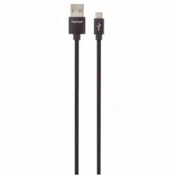 CORDON TRESSÉ EN NYLON USB 2.0 MALE/MÂLE USB A VERS MICRO USB B 1,2M NOIR