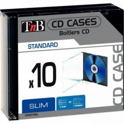 LOT DE 10 BOITIERS VIDES SLIM NOIR POUR 1 CD