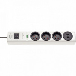 MULTIPRISE PARAFOUDRE HUGO 3 PRISES+ 2 USB 2M BLANC