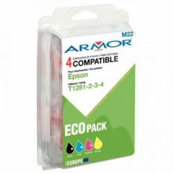 PACK DE 4 CARTOUCHES ENCRE COMPATIBLE POUR EPSON T128540 NOIR CYAN MAGENTA JAUNE