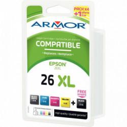 26XL PACK 5 CARTOUCHES ENCRE COMPATIBLE P/ EPSON NOIR CYAN MAGENTA JAUNE HTE CAP