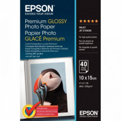 PAPIER PHOTO PREMIUM GLACÉ EPSON A6 255G PAQUET DE 40 FEUILLES