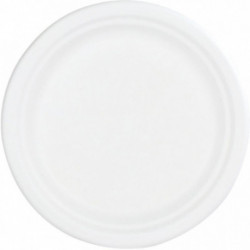 PAQUET DE 50 ASSIETTES PLATES EN FIBRE DE CANNE DIAMÈTRE 22CM
