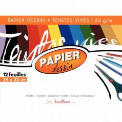 POCHETTE DE 12 FEUILLES PAPIER DESSIN 160G COULEUR FORMAT 24X32 CM TEINTES VIVES