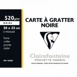 POCHETTE DE 2 FEUILLES DE CARTE À GRATTER 24 X 32 CM COULEUR NOIR