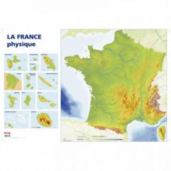 CARTE DE FRANCE PHYSIQUE. DIMENSIONS : 1,20X0.80 MÈTRE