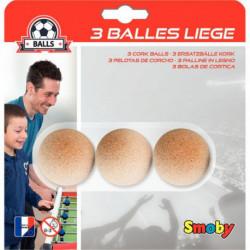 LOT DE 3 BALLES EN LIÈGE BABY FOOT