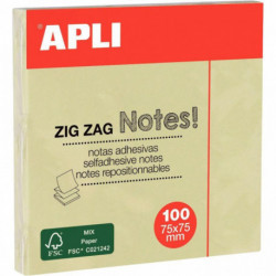 BLOC DE 100 FEUILLES DE NOTES ADHÉSIVES EN ZIG ZAG, FORMAT : 75 X 75 MM