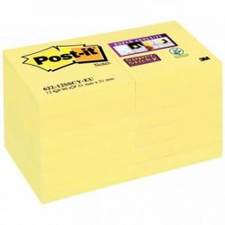 BLOCS  PQT12 SUPER STICKY POSTIT® JAUNES 90 FLES 51x51 MM 3M BP825