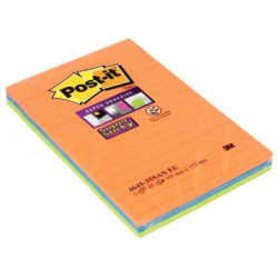 BLOCS POST-IT SUPER STICKY BANGKOK 45 FLES ASS. 101x152 MM*PQT3* BP332