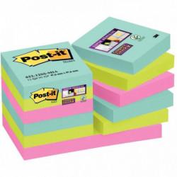 BLOCS POST-IT SUPER STICKY MIAMI 47,6x47,6MM LOT 12 BLOCS BP945
