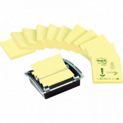 Z-Notes Post-it® Recyclées Jaune lot de 12 blocs + Dévidoir Millenium offert BP