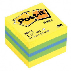 BLOC REPOSITIONNABLE MINI CUBE POST-IT 51x51 MULTICOLOR REVE 3M 55800