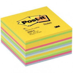 CUBE DE 450 FEUILLES DE NOTES POST-IT REPOSITIONNABLES 76 X 76 MM COULEURS ASSOR