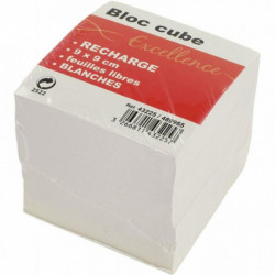 RECHARGE BLOC CUBE, FEUILLES BLANCHES, DIMENSIONS : 9 X 9 X 9 CM