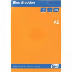 BLOC DIRECTION 80 FEUILLES MICROPERFORÉES DÉTACHABLES 5X5 A5 70GR