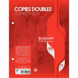 COPIES DBLES PERF. 2 TROUS 17x22 70G 200 PAGES SEYES CALLIGRA 5080C