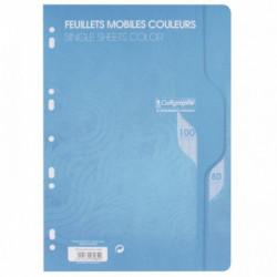 SACHET DE 50 FEUILLETS MOBILES (100 PAGES) FORMAT 21X29,7CM SÉYÈS 80G COLORIS BL