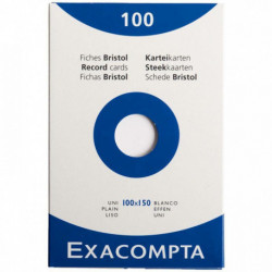 BOÎTE DE 100 FICHES BRISTOL NON PERFORÉES CARTE FORTE 210 G UNI BLANC 10 X 15 CM