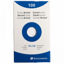 FICHE BRISTOL  75x125 UNI BLANC PQT 100 HAMELIN 100103349