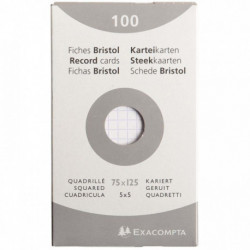FICHE BRISTOL 75x125 5x5 BLANC PQT 100 HAMELIN 100100457