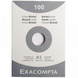 FICHE BRISTOL A5 148x210 5x5 BLANC PQT 100 *FAB FRANCE* OXFORD 100100757
