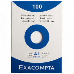 FICHE BRISTOL A5 148x210 UNI BLANC PQT 100 HAMELIN 100101449