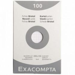 FICHES BRISTOL NON PERFORÉES ETUI DE 100 CARTE FORTE 210 G BLANC QUADRILLÉ 5X5 1