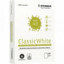 PAPIER A4 80G BLANC RECYCLE CLASSIC WHITE CIE55 ECOLABEL ANGE BLEU R500F