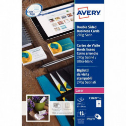 CARTES DE VISITE85X54 AVERY C32026 270G BTE 250 QUICK & CLEAN LASER BORDS LISSES