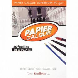 BLOC DE 50 FEUILLES DE PAPIER CALQUE UNI, 90 G 21X29,7 CM EXCELLENCE
