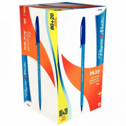 PACK 80 STYLO BILLE INKJOY 100CAP BLEU + 20 GRATUITS PAPERMATE S0977420