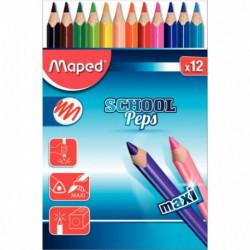 12 crayons de couleur SCHOOL'PEPS MAXI 834030