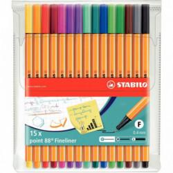 Pochette x 15 stylos-feutres STABILO point 88 - coloris assortis 8815